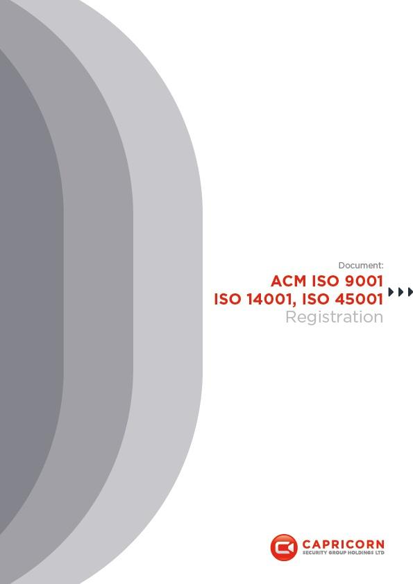 Capricorn Security ACM ISO 9001, 14001, 45001 Accreditation